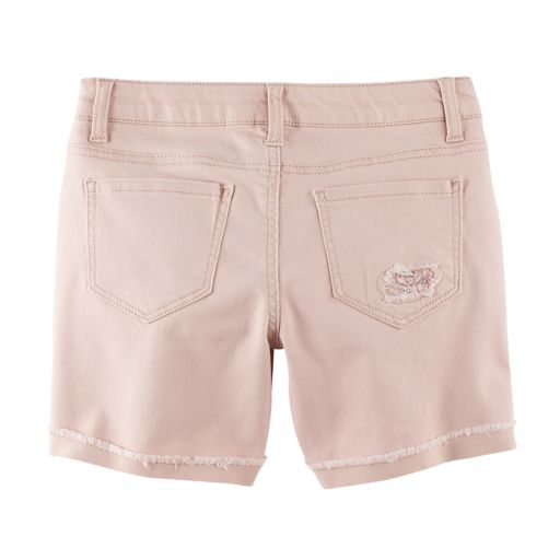 Girls 7-16 & Plus Size Mudd® Pink Embroidered Flower Midi Jean Shorts