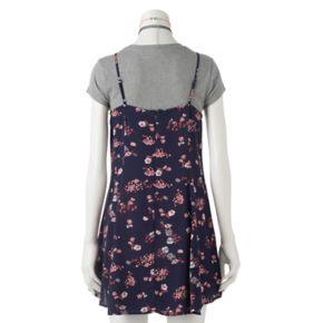 Juniors' Wallflower Gauze Slip Dress, Tee & Choker Set