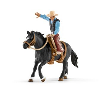 Farm World Saddle Bronc Riding with Cowboy Figure Set by Schleich