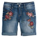 Girls 7-16 & Plus Size Mudd® Flower Embroidered Denim Bermuda Shorts