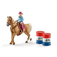 Farm World Barrel Racing with Cowgirl Figure Set by Schleich
