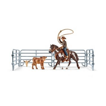 Farm World Team Roping with Cowboy Figure Set by Schleich