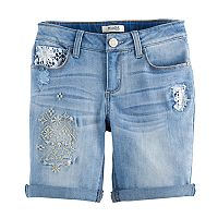 Girls 7-16 & Plus Size Mudd® Embroidered Denim Bermuda Shorts