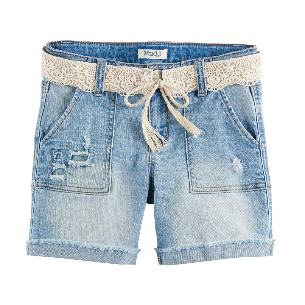Girls 7-16 & Plus Size Mudd® Crochet Belted Light Wash Denim Midi Shorts