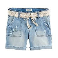 Girls 7-16 & Plus Size Mudd® Crochet Belted Light Wash Denim Midi Shorts