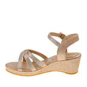 Petalia Girls' Rhinestone Wedge Sandals