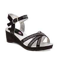 Petalia Girls' Rhinestone Wedge Sandals