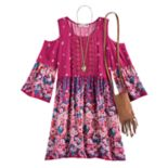 Girls 7-16 Knitworks Flower Printed Cold Shoulder Dress with Crossbody Purse