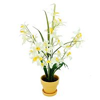 Designs by Lauren Artificial Yellow Dendrobium Orchids & Grass Plant