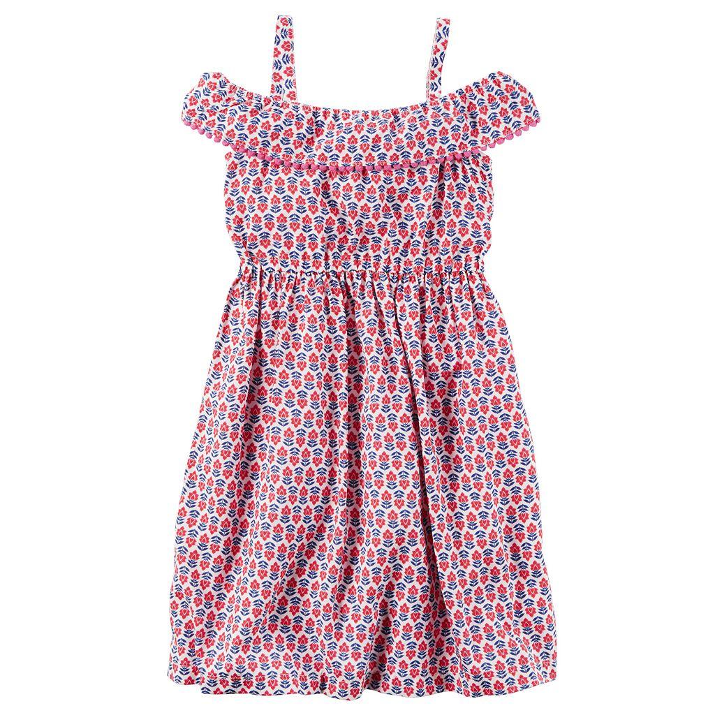 Girls 4-8 Carter's Print Cold-Shoulder Dress