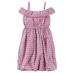 Girls 4-8 Carter's Print Cold-Shoulder Dress