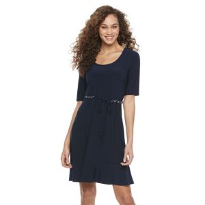 Women's Nina Leonard Belted Fit & Flare Dress