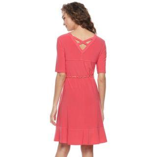 Women's Nina Leonard Belted Fit & Flare Dress