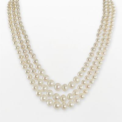Sterling Silver Freshwater Cultured Pearl Multistrand Necklace