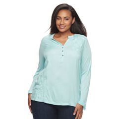 Plus Size SONOMA Goods for Life™ Embroidered Henley Peasant Top