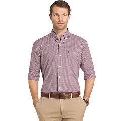 Big & Tall IZOD Advantage Sportflex Regular-Fit Gingham-Plaid Stretch Button-Down Shirt