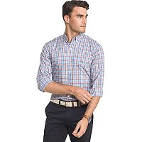 Big & Tall IZOD Advantage Sportflex Regular-Fit Gingham-Checked Stretch Button-Down Shirt