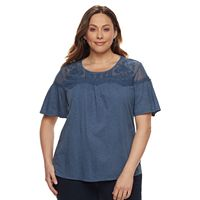 Plus Size SONOMA Goods for Life™ Embroidered Yoke Tee