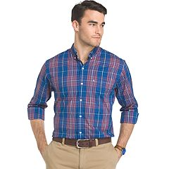 Big & Tall IZOD Advantage Sportflex Regular-Fit Plaid Stretch Button-Down Shirt