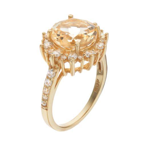 14k Gold Over Silver Citrine & Cubic Zirconia Sunburst Ring