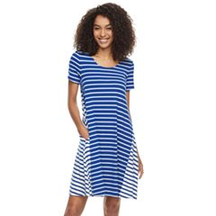 Women's Nina Leonard Striped Trapeze Dress