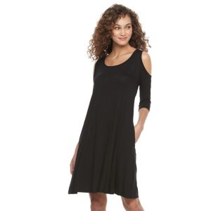 Women's Nina Leonard Trapeze Cold-Shoulder Dress