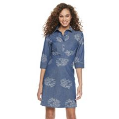 Women's Nina Leonard Embroidered Shirtdress