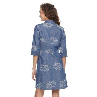 Women's Nina Leonard Embroidered Shirtdress