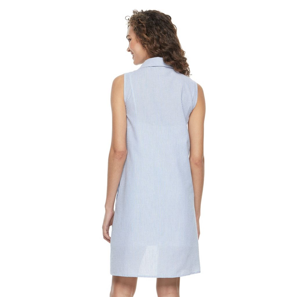 Women's Nina Leonard Seersucker Shirtdress