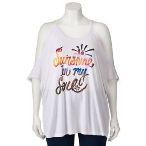 Juniors' Plus Size About A Girl Cold Shoulder Graphic Top