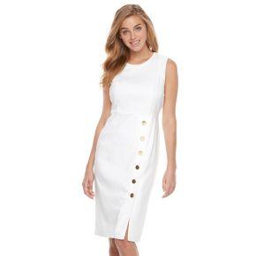 Women's Nina Leonard Embellished Linen Sheath Dress