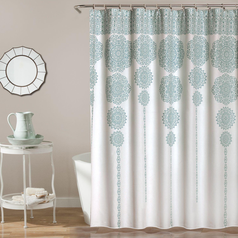 Lush Decor Stripe Medallion Shower Curtain