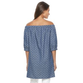 Women's Nina Leonard Printed Off-the-Shoulder Dress