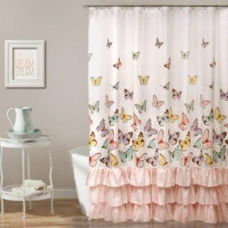 Lush Decor Flutter Butterfly Kid's Shower Curtain