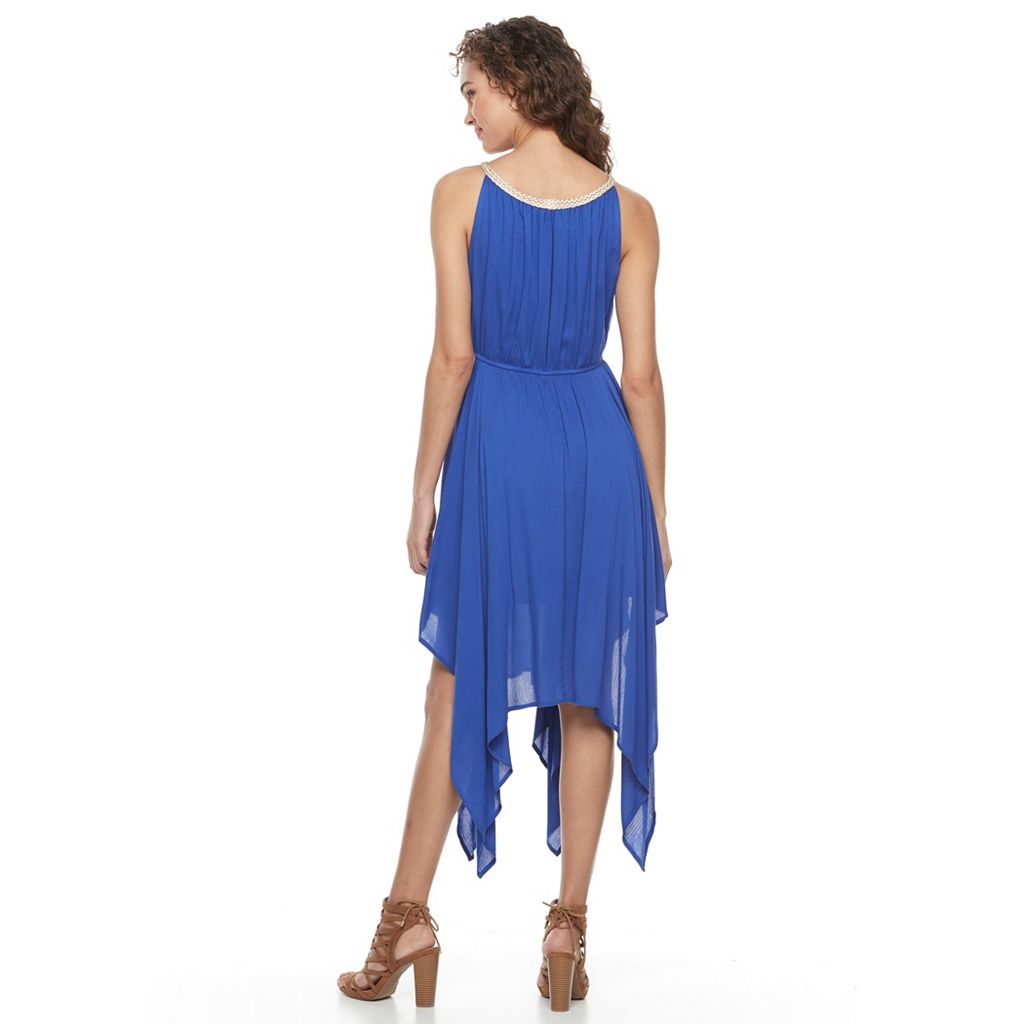 Women's Nina Leonard Asymmetrical Hem Gauze Dress