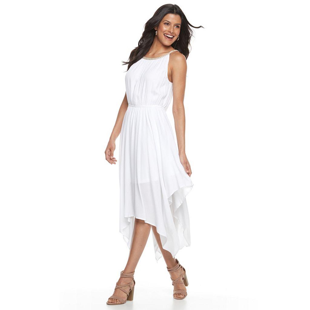 Women's Nina Leonard Asymmetrical Hem Gauze Dress