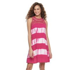 Women's Nina Leonard Tie-Dye Gauze Tank Dress