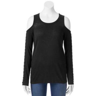 Juniors' Pink Republic Lace-Up Cold Shoulder Sweater