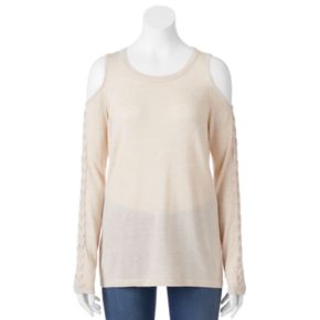 Juniors' Pink Republic Lace-Up Cold Shoulder Sweater