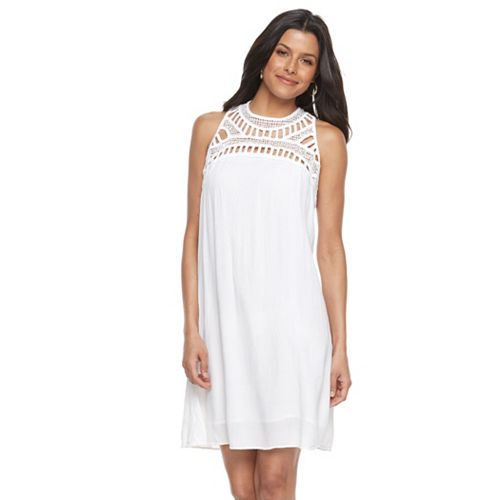Women's Nina Leonard Solid Gauze Tank Dress