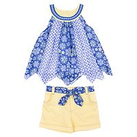 Toddler Girl Little Lass Floral Swing Tank Top & Cuffed Shorts Set