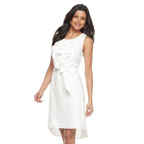 Women's Nina Leonard Ruffled Crepe Sheath Dress