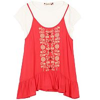 Girls 7-16 Speechless White Tee & Embroidered Babydoll Tank Top Set
