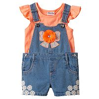 Toddler Girl Little Lass Flutter Tee & Bow Embellished Denim Shortalls Set