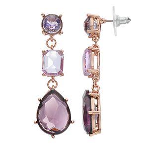 Jennifer Lopez Purple Geometric Stone Linear Drop Earrings