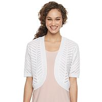 Women's Nina Leonard Crocheted Open-Work Shrug