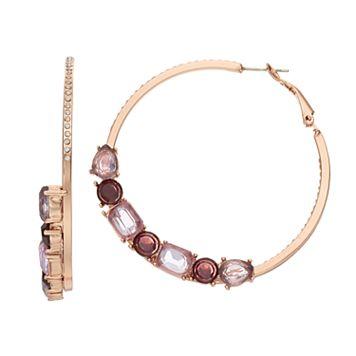 Jennifer Lopez Purple Geometric Stone Hoop Earrings