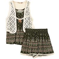 Girls 7-16 Speechless Crochet Vest, Printed Tank Top & Shorts Set with Necklace