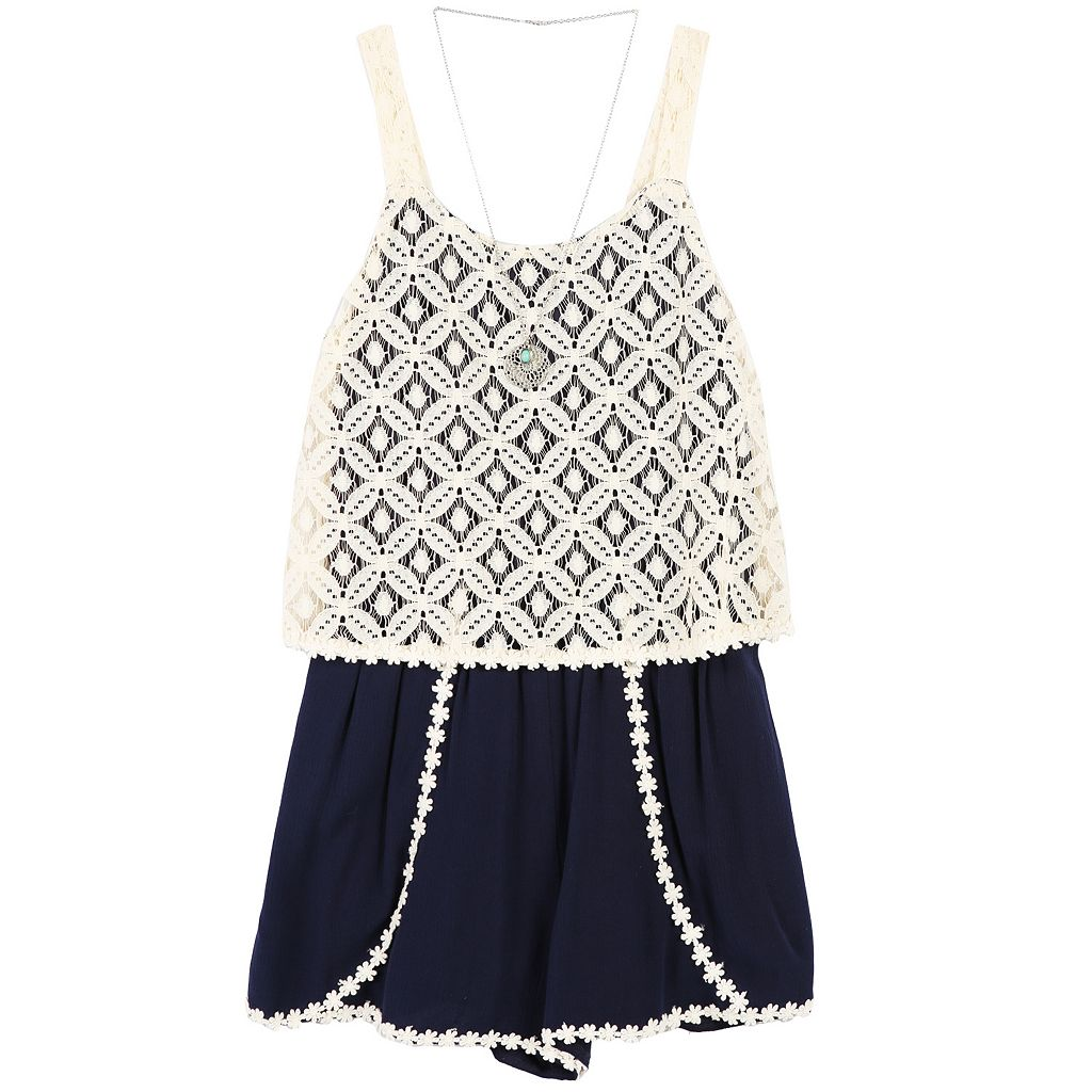 Girls 7-16 Speechless Lace Popover Romper with Necklace