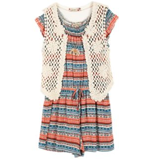 Girls 7-16 Speechless Crochet Vest & Tribal Striped Patterned Romper Set with Necklace